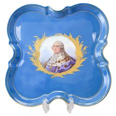Sevres Style Hand Painted Porcelain Square Tray, 19th Century. Scallop Edged