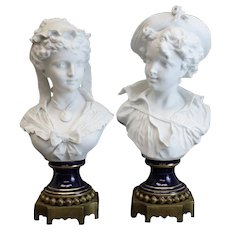 Charming Sevres Style France Blanc De Chine Busts on Bronze Base, Late 19th Century