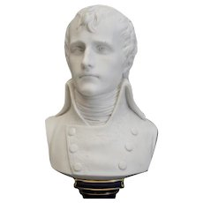 Sevres Style France Blanc De Chine Porcelain Bust of Napoleon on Cobalt Blue, 1898
