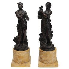Continental Pair Bronze on Sienna Marble Sculptures, 19th C. Satyr Nymph Beauty