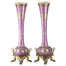 Pair of French or Italian Art Glass Raised Gilt Vases, Bronze Mounts 19th C.