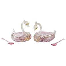 Pair Venetian Art Glass Cranberry Swan Salt Cellars. Manner of Salviati c.1940