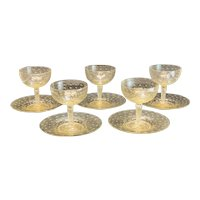 5 Venetian Gold Fleck Controlled Bubble Sherbet Goblets & Underplates, c1950
