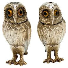 Tiffany & Co. Sterling Silver Owl Salt & Pepper Shakers, 1958