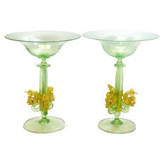 Pair Salviati Venetian Green Art Glass Compotes, circa 1970. Dolphin Stem