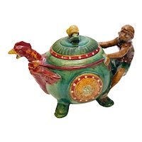 Minton Style Majolica Teapot - Figural Monkey, Chicken, Snail