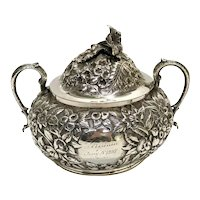 Sterling Silver Heavy Repousse Floral Covered Sugar Bowl, circa 1900