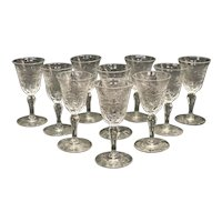 10 Continental Cut Glass Emulating Rock Crystal Cordial Wine Goblets, circa 1960
