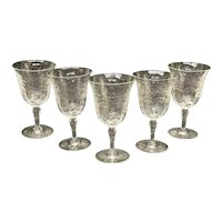 5 Continental Cut Glass Emulating Rock Crystal Wine Goblets, circa 1960
