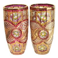 Pair Bohemian Cranberry Red & Clear Hand Painted Enamel Cut Glass Vases, c1910