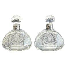Pair Bohemian Sterling Silver Intaglio Cut Glass Decanters, circa 1920