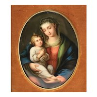 KPM Hand Painted Porcelain Plaque - Madonna & Child, 19th Century