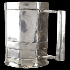 Spanish Colonial Nonagon Silver Mug or Tankard, 18th Century.