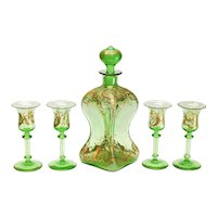 Continental Green Art Glass & Gilt Cordial Wine Goblets & Decanter for 4, circa 1900