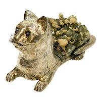 Luiz Ferreira Porto 925 Sterling Silver Ruby Smokey Quartz Geode Cat Sculpture