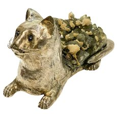 Luiz Ferreira Porto 925 Sterling Silver Ruby Smokey Quartz Geode Cat Sculpture
