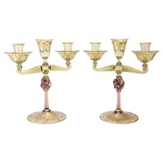 Pair of Venetian Amber Art Glass Candelabras, circa 1920. Gold Fleck & Enamel