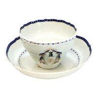 Chinese Export Porcelain Cobalt Blue & Gilt Cup & Saucer, c1920. Bird Armorial