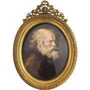 Very Fine Continental Hand Painted Portrait Miniature Scholar Signed, 19th Century