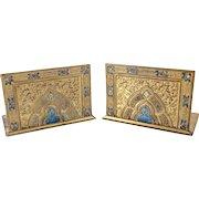 Louis C. Tiffany Favrile Furnaces Gilt Bronze Gothic Style Bookends in Corona, circa 1900