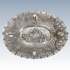 German 800 Silver Oval Centerpiece Bowl, circa 1900. Figural Cherub Scene