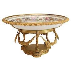 Mfg National de Sevres Style Louis Philippe Chateau de Fontainebleu Centerpiece Bowl
