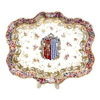 Capodimonte Hand Painted Porcelain Armorial Crest Centerpiece Tray