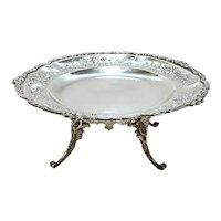 Emile Delair French Silver Footed Tray. Hand Chased Leaves and Flowers