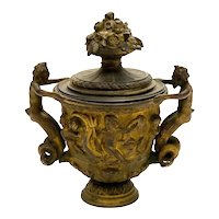 Continental Gilt Patinated Bronze Kantharos Covered Cup, circa 1900. Mermaid Cherubs