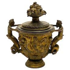 Continental Gilt Patinated Bronze Kantharos Covered Cup, circa 1900. Mermaid Cherubs