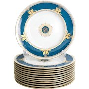 12 Wedgwood Porcelain Dinner Plates in Columbia Raised Gilt & Powder Blue #W100