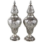 Scottish Provincial Silver Salt & Pepper Shakers, 19th Century. Repousse Figures