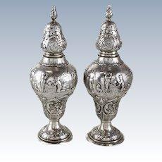 Scottish Provincial Silver Salt & Pepper Shakers, 19th Century. Repousse Figures