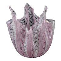 Murano Venini Art Glass Latticino Pink & White Handkerchief Vase, circa 1940 Signed