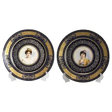 Pair Royal Vienna Style Porcelain Hand Painted Portrait Plates, circa 1900. Signed