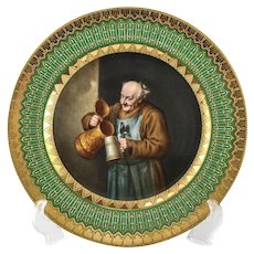 Royal Vienna Style Hand Painted Cabinet Plate Cheerful Monk Pouring Drink, 19th C