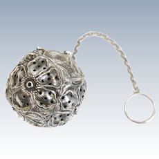 Stieff Sterling Silver Tea Ball Infuser Repousse Flowers, Art Nouveau c1900
