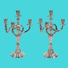 Extraordinary Pair of Emile Puiforcat Paris .950 Silver Candelabras, Late 19th C