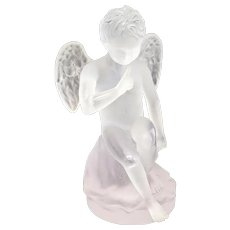 Daum France Pate De Verre Cupidon Sculpture, Ltd Ed of 375. Original Box
