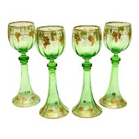 4 Bohemian Green Art Glass & Gold Encrusted Wine Goblets, circa 1930