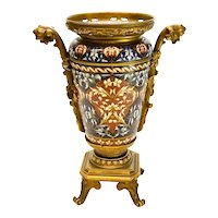 French Champleve Enamel Gilt Bronze Mounted Vase, 19th C. Barbedienne Quality