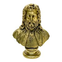 Russian Gilt Bronze Bust of a Knight Wearing Maltese Cross, 19th Century