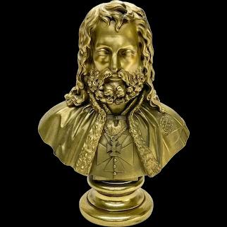 Russian Gilt Bronze Bust of a Knight Wearing Maltese Cross, 19th Century