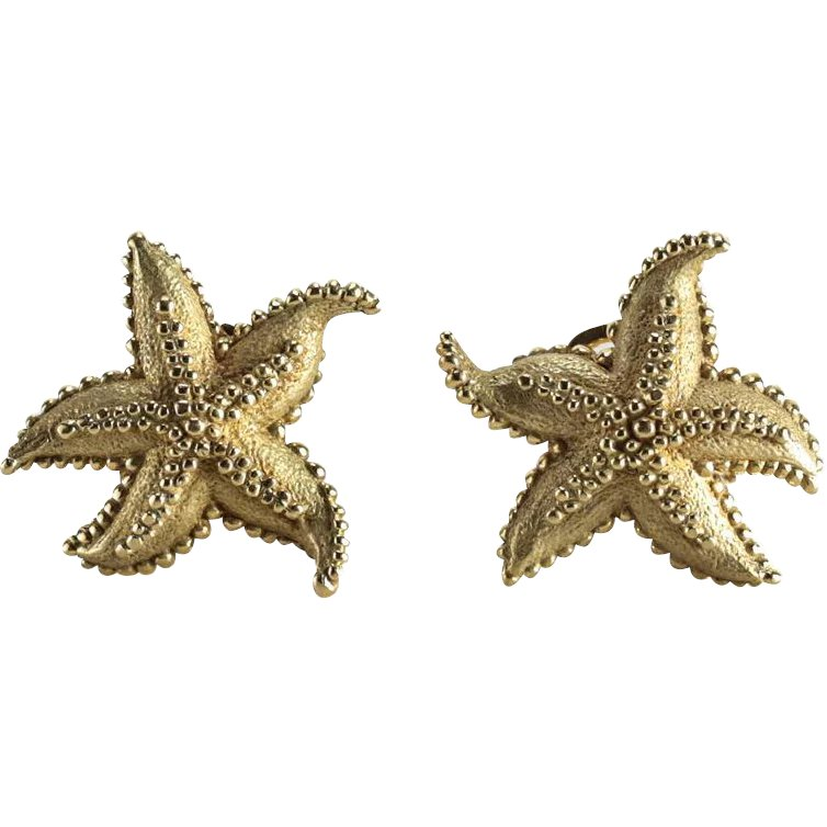 e9c9adafe Large Tiffany & Co 18 Karat Gold Starfish Earrings with Beaded Texture :  Gallery XV | Ruby Lane