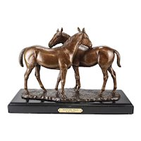 "Marilyn Newmark Bronze Horse Sculpture ""Pasture Pals"" Signed Artist Proof"