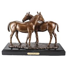 "Marilyn Newmark Bronze Horse Sculpture ""Pasture Pals"" Signed Artist Proof"