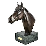 """Marilyn Newmark Patinated Bronze Horse Sculpture """"Red Baron"""" 1983, Signed"""