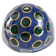 18 Karat Yellow Gold Blue & Green Guilloche Enamel Dome Ring. Size 5 / 12.23 grams