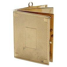14 Karat Yellow Gold Book Charm Pendent, Marked. 25.6 grams