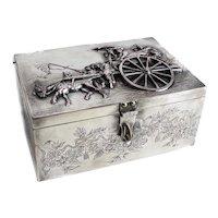 Dutch or German Silverplate Box, High Relief Figural Scene, 19th Century